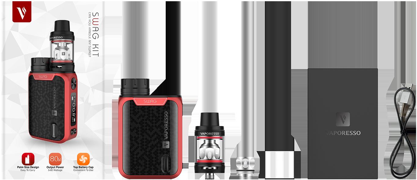 Vaporesso Swag E-sigarett sett innhold i pakken